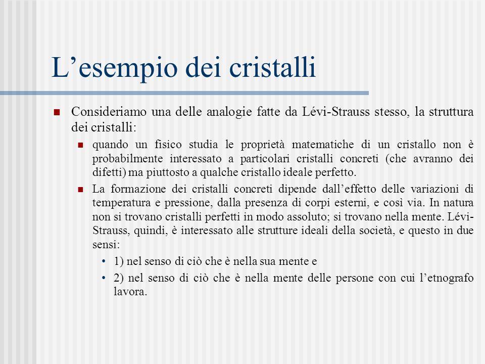 L'esempio dei cristalli Consideriamo una delle analogie fatte da Lévi-Strauss stesso, la struttura dei cristalli: quando un fisico studia le proprietà matematiche di un cristallo non è probabilmente interessato a particolari cristalli concreti (che avranno dei difetti) ma piuttosto a qualche cristallo ideale perfetto.