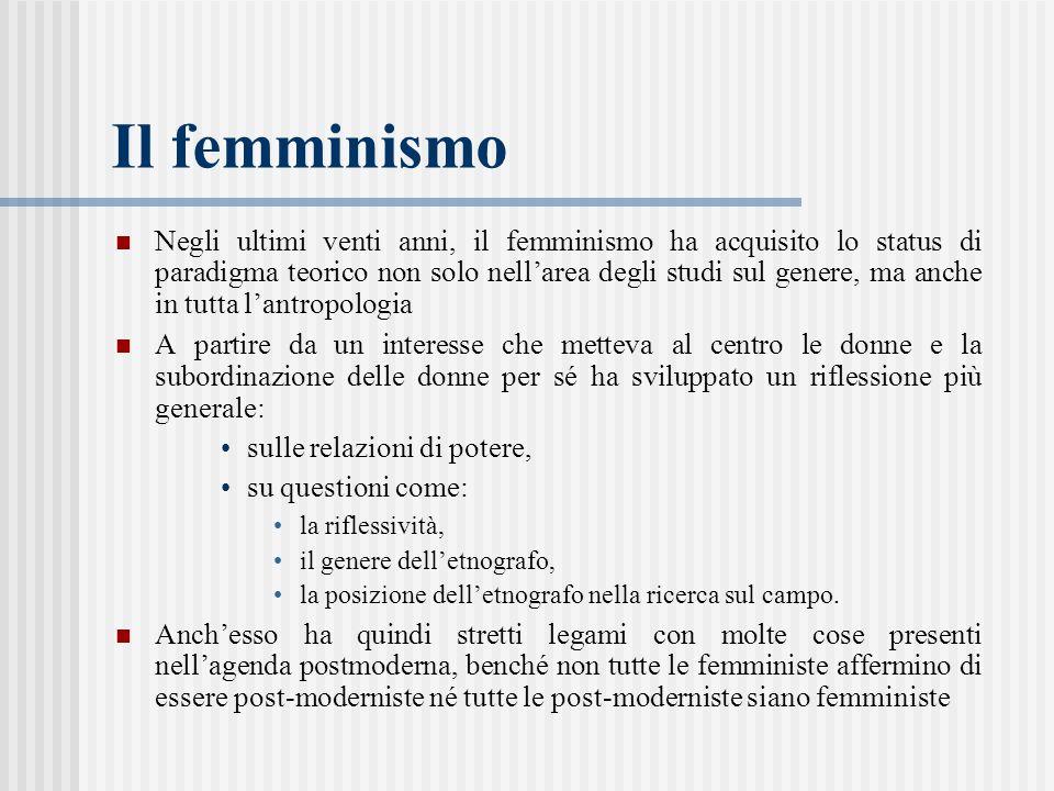 Il femminismo Negli ultimi venti anni, il femminismo ha acquisito lo status di paradigma teorico non solo nell'area degli studi sul genere, ma anche in tutta l'antropologia A partire da un interesse che metteva al centro le donne e la subordinazione delle donne per sé ha sviluppato un riflessione più generale: sulle relazioni di potere, su questioni come: la riflessività, il genere dell'etnografo, la posizione dell'etnografo nella ricerca sul campo.