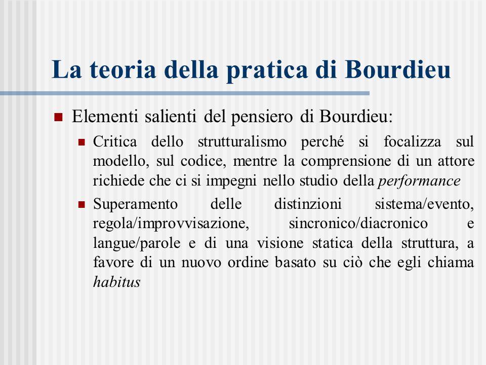 La teoria della pratica di Bourdieu Elementi salienti del pensiero di Bourdieu: Critica dello strutturalismo perché si focalizza sul modello, sul codice, mentre la comprensione di un attore richiede che ci si impegni nello studio della performance Superamento delle distinzioni sistema/evento, regola/improvvisazione, sincronico/diacronico e langue/parole e di una visione statica della struttura, a favore di un nuovo ordine basato su ciò che egli chiama habitus