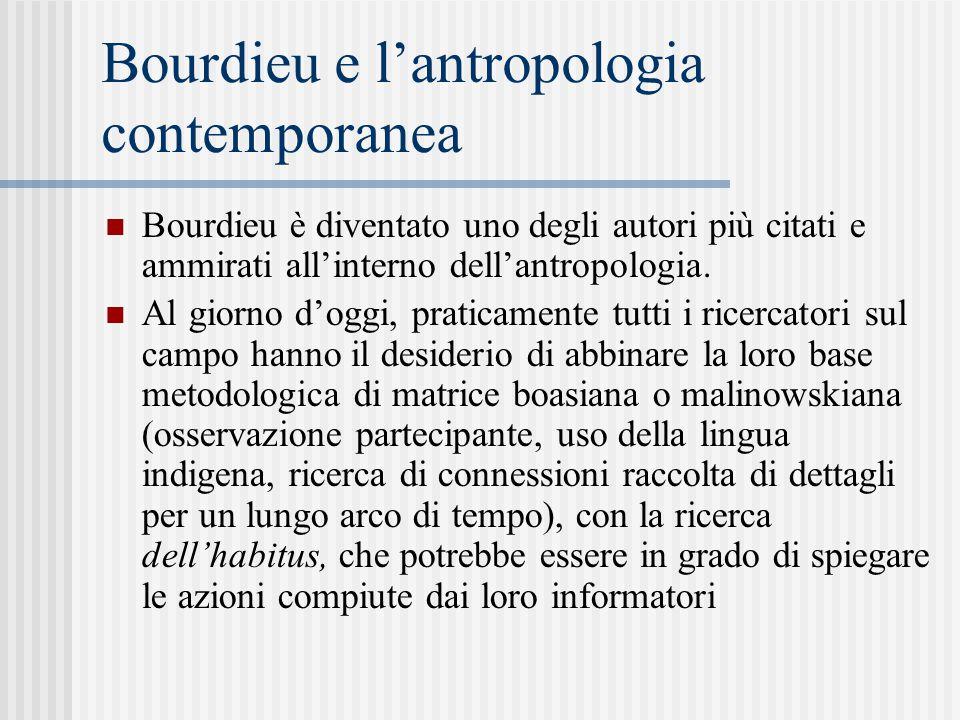 Bourdieu e l'antropologia contemporanea Bourdieu è diventato uno degli autori più citati e ammirati all'interno dell'antropologia.