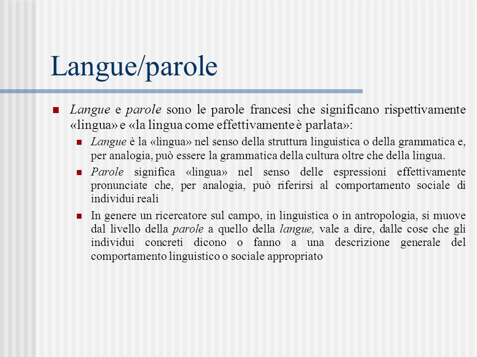 Langue/parole Langue e parole sono le parole francesi che significano rispettivamente «lingua» e «la lingua come effettivamente è parlata»: Langue è la «lingua» nel senso della struttura linguistica o della grammatica e, per analogia, può essere la grammatica della cultura oltre che della lingua.
