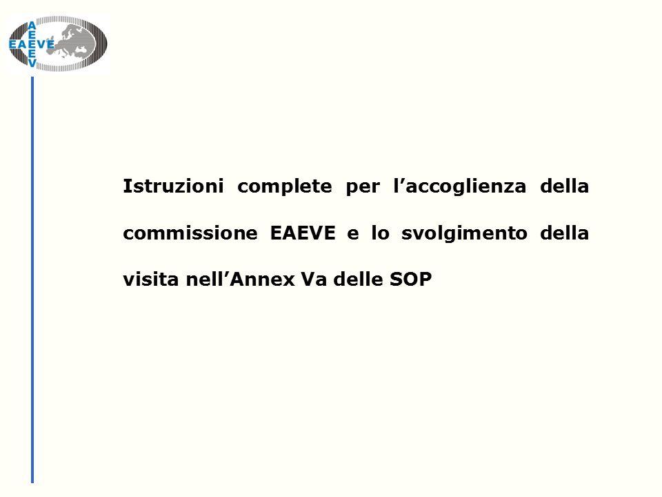 Istruzioni complete per l'accoglienza della commissione EAEVE e lo svolgimento della visita nell'Annex Va delle SOP