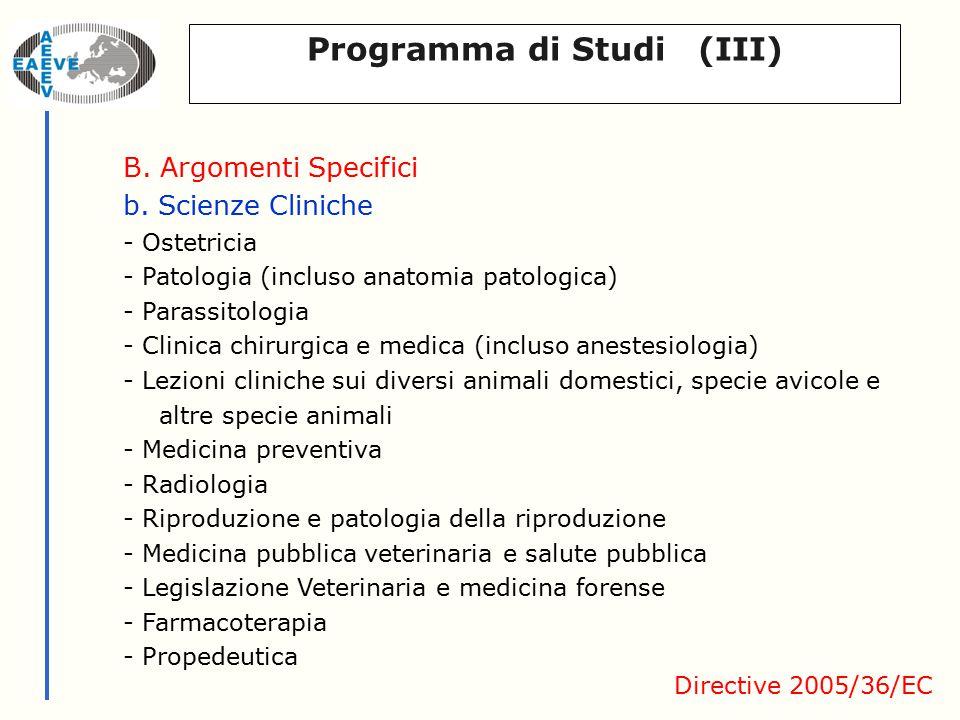 Programma di Studi (III) B. Argomenti Specifici b.
