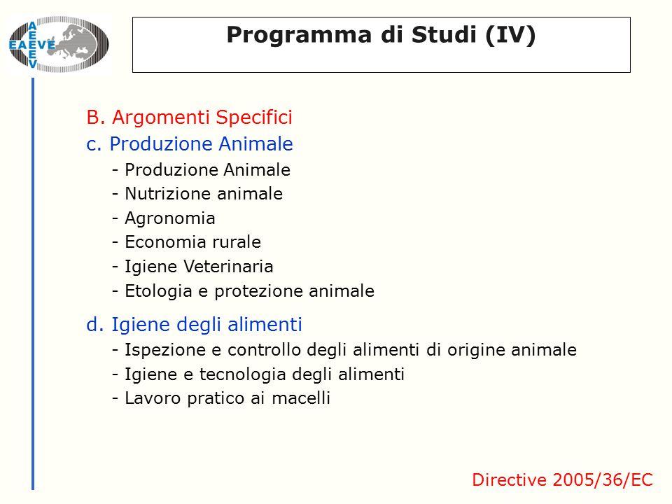 Programma di Studi (IV) B. Argomenti Specifici c.