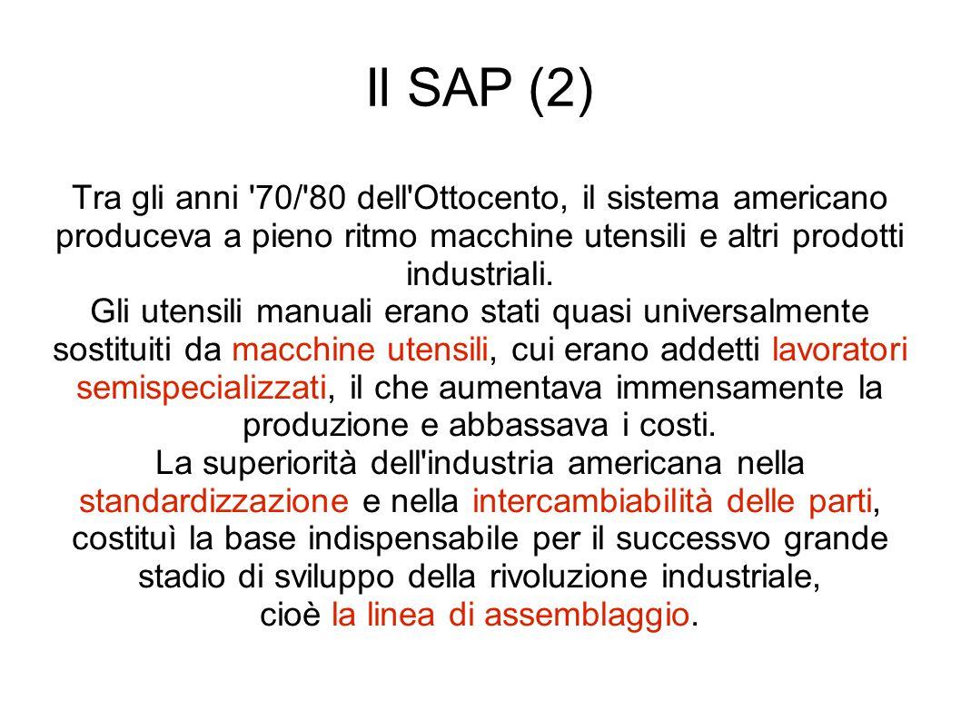 Il SAP (2) Tra gli anni 70/ 80 dell Ottocento, il sistema americano produceva a pieno ritmo macchine utensili e altri prodotti industriali.