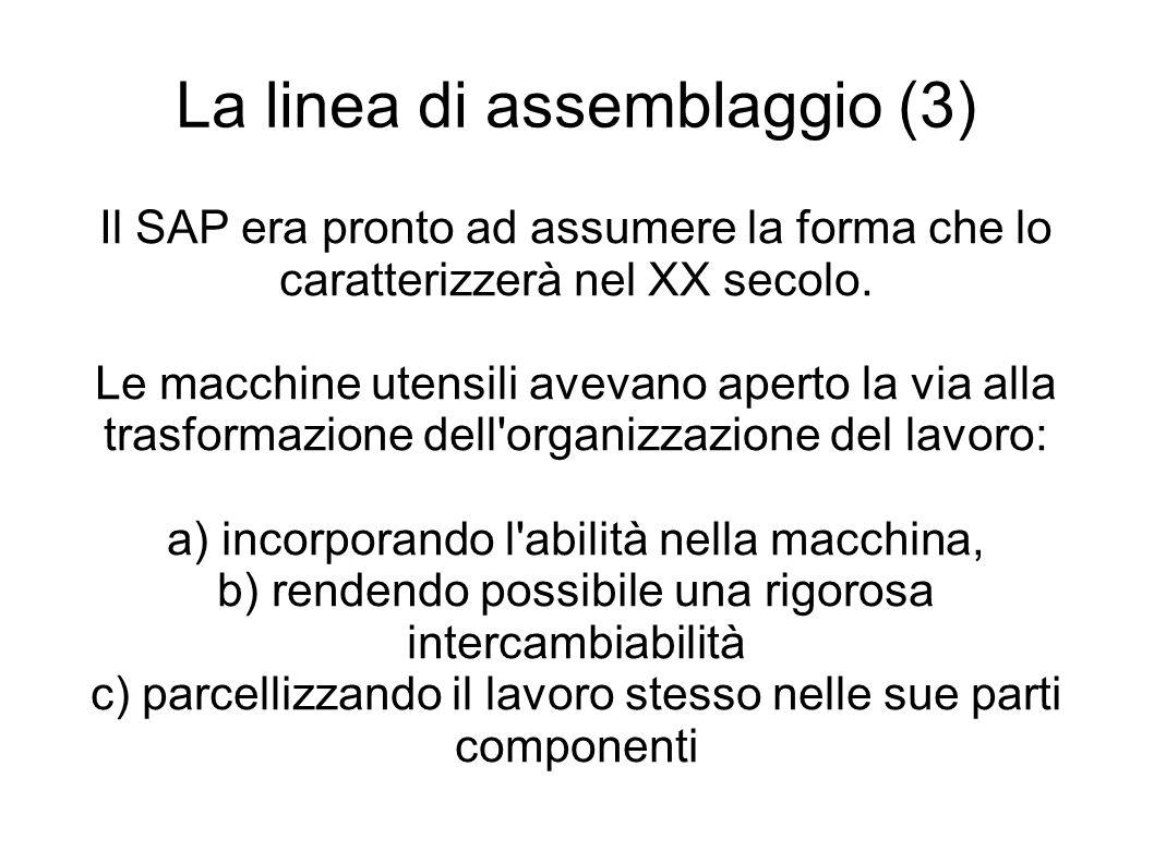 La linea di assemblaggio (3) Il SAP era pronto ad assumere la forma che lo caratterizzerà nel XX secolo.