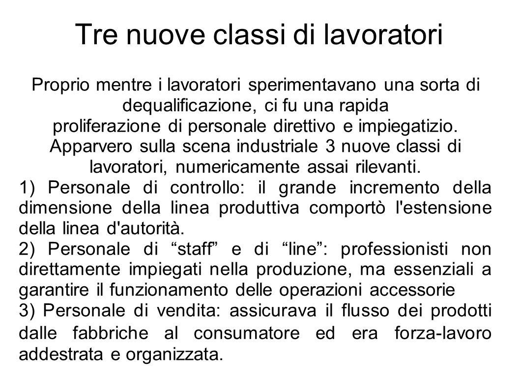 Tre nuove classi di lavoratori Proprio mentre i lavoratori sperimentavano una sorta di dequalificazione, ci fu una rapida proliferazione di personale direttivo e impiegatizio.
