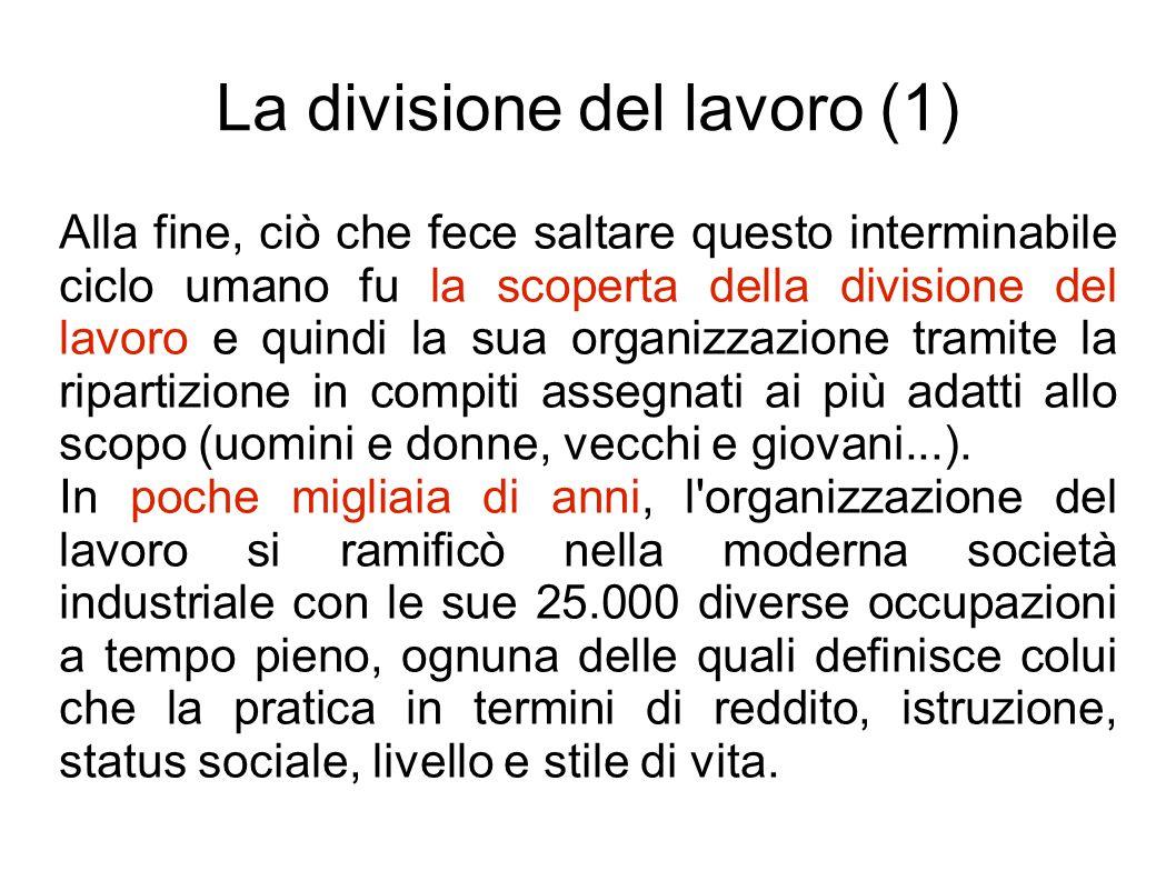 La divisione del lavoro (2) La divisione del lavoro è probabilmente più vecchia dell Homo sapiens.