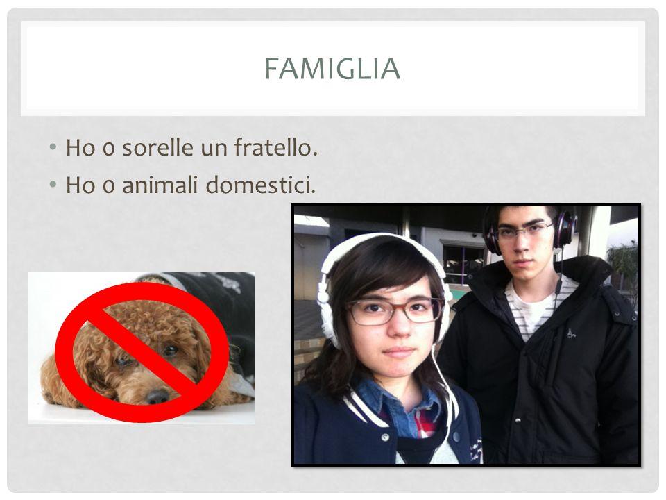 FAMIGLIA Ho 0 sorelle un fratello. Ho 0 animali domestici.
