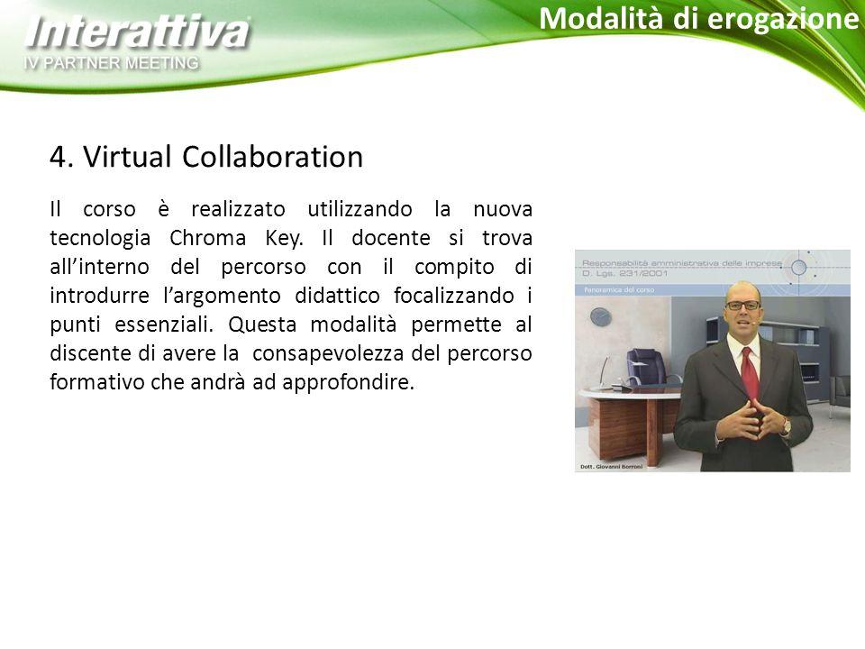 4. Virtual Collaboration Il corso è realizzato utilizzando la nuova tecnologia Chroma Key.