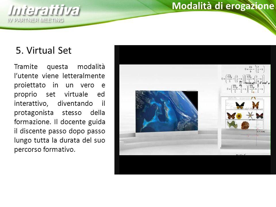 5. Virtual Set Tramite questa modalità l'utente viene letteralmente proiettato in un vero e proprio set virtuale ed interattivo, diventando il protago