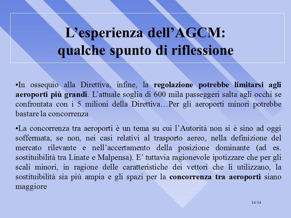 L'esperienza dell'AGCM: qualche spunto di riflessione In ossequio alla Direttiva, infine, la regolazione potrebbe limitarsi agli aeroporti più grandi.