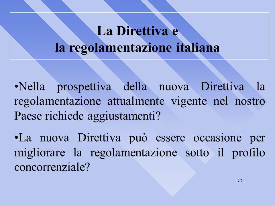 La Direttiva e la regolamentazione italiana Nella prospettiva della nuova Direttiva la regolamentazione attualmente vigente nel nostro Paese richiede aggiustamenti.