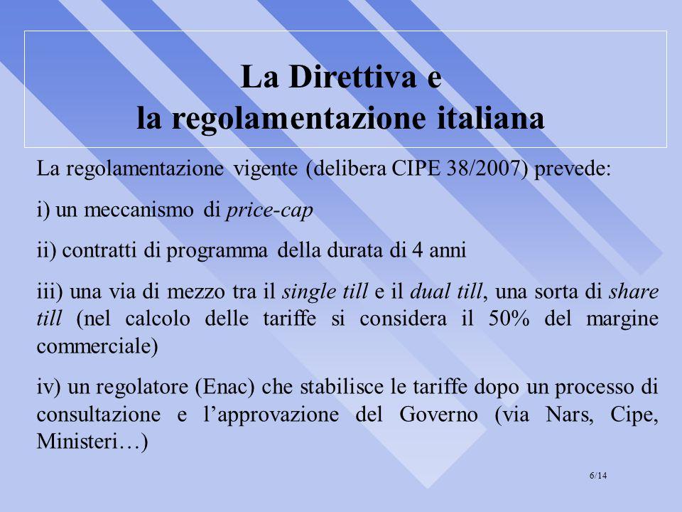 La Direttiva e la regolamentazione italiana La regolamentazione vigente (delibera CIPE 38/2007) prevede: i) un meccanismo di price-cap ii) contratti di programma della durata di 4 anni iii) una via di mezzo tra il single till e il dual till, una sorta di share till (nel calcolo delle tariffe si considera il 50% del margine commerciale) iv) un regolatore (Enac) che stabilisce le tariffe dopo un processo di consultazione e l'approvazione del Governo (via Nars, Cipe, Ministeri…) 6/14