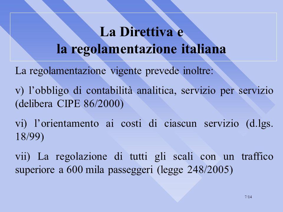 La Direttiva e la regolamentazione italiana La regolamentazione vigente prevede inoltre: v) l'obbligo di contabilità analitica, servizio per servizio (delibera CIPE 86/2000) vi) l'orientamento ai costi di ciascun servizio (d.lgs.