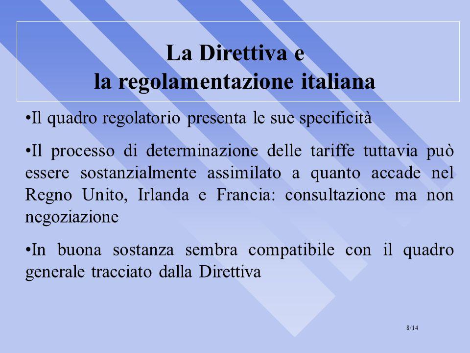 La Direttiva e la regolamentazione italiana Il quadro regolatorio presenta le sue specificità Il processo di determinazione delle tariffe tuttavia può essere sostanzialmente assimilato a quanto accade nel Regno Unito, Irlanda e Francia: consultazione ma non negoziazione In buona sostanza sembra compatibile con il quadro generale tracciato dalla Direttiva 8/14