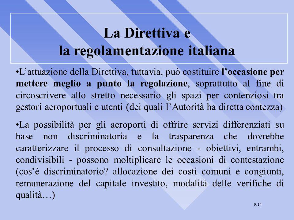 La Direttiva e la regolamentazione italiana L'attuazione della Direttiva, tuttavia, può costituire l'occasione per mettere meglio a punto la regolazione, soprattutto al fine di circoscrivere allo stretto necessario gli spazi per contenziosi tra gestori aeroportuali e utenti (dei quali l'Autorità ha diretta contezza) La possibilità per gli aeroporti di offrire servizi differenziati su base non discriminatoria e la trasparenza che dovrebbe caratterizzare il processo di consultazione - obiettivi, entrambi, condivisibili - possono moltiplicare le occasioni di contestazione (cos'è discriminatorio.