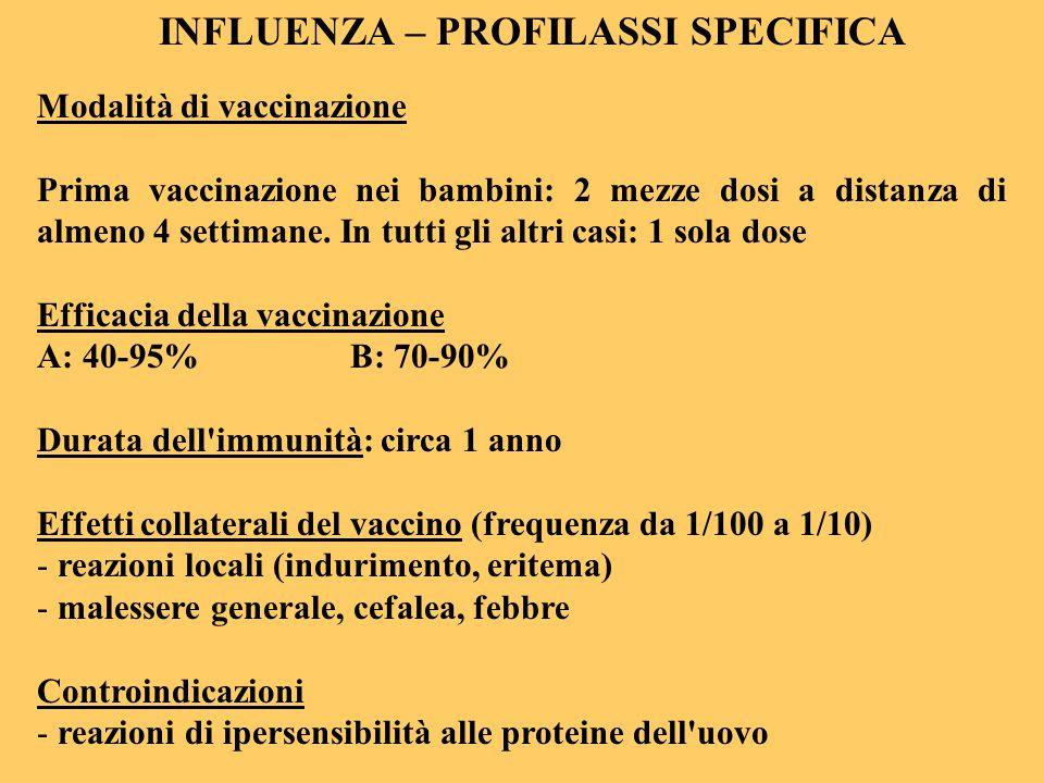 INFLUENZA – PROFILASSI SPECIFICA Modalità di vaccinazione Prima vaccinazione nei bambini: 2 mezze dosi a distanza di almeno 4 settimane. In tutti gli