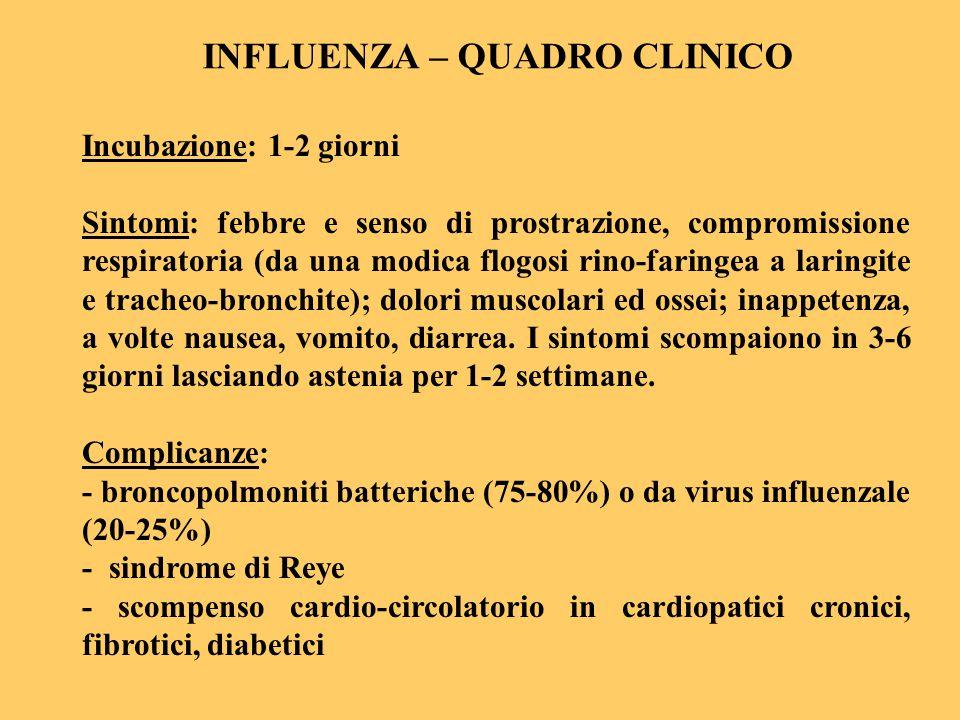 INFLUENZA – QUADRO CLINICO Incubazione: 1-2 giorni Sintomi: febbre e senso di prostrazione, compromissione respiratoria (da una modica flogosi rino-fa