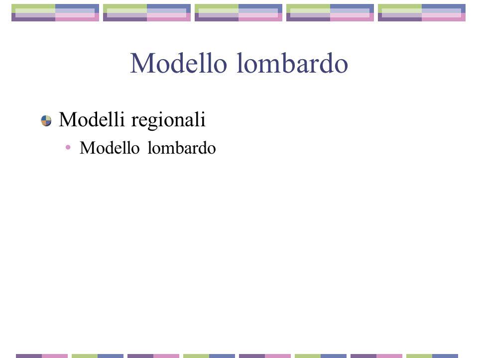 Modello lombardo Modelli regionali Modello lombardo
