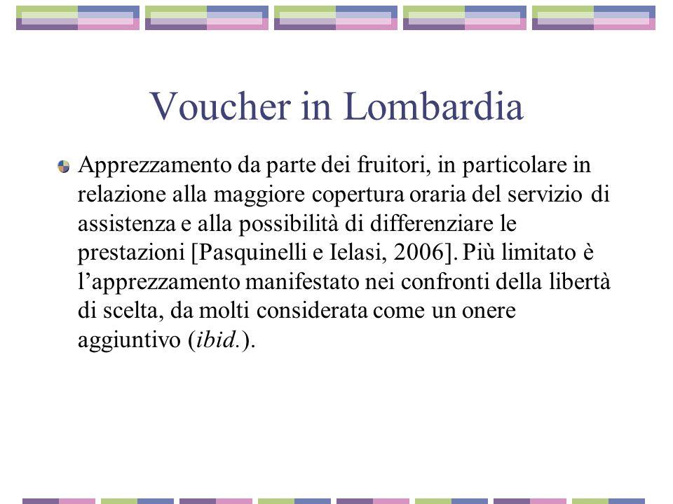 Voucher in Lombardia Apprezzamento da parte dei fruitori, in particolare in relazione alla maggiore copertura oraria del servizio di assistenza e alla possibilità di differenziare le prestazioni [Pasquinelli e Ielasi, 2006].