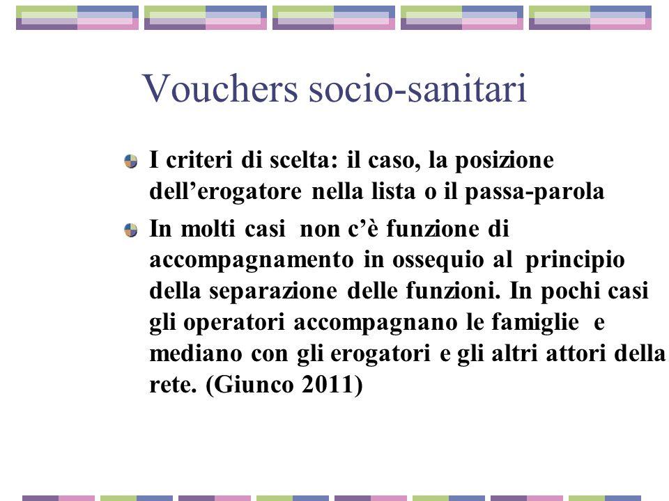 Vouchers socio-sanitari I criteri di scelta: il caso, la posizione dell'erogatore nella lista o il passa-parola In molti casi non c'è funzione di accompagnamento in ossequio al principio della separazione delle funzioni.