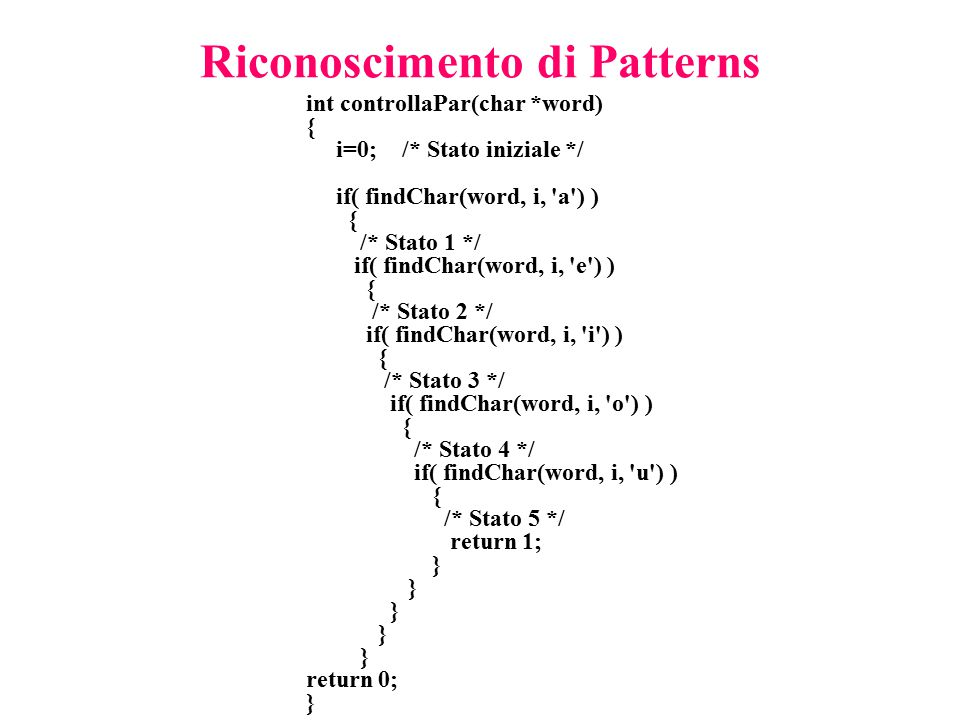 Riconoscimento di Patterns int controllaPar(char *word) { i=0;/* Stato iniziale */ if( findChar(word, i, a ) ) { /* Stato 1 */ if( findChar(word, i, e ) ) { /* Stato 2 */ if( findChar(word, i, i ) ) { /* Stato 3 */ if( findChar(word, i, o ) ) { /* Stato 4 */ if( findChar(word, i, u ) ) { /* Stato 5 */ return 1; } return 0; }