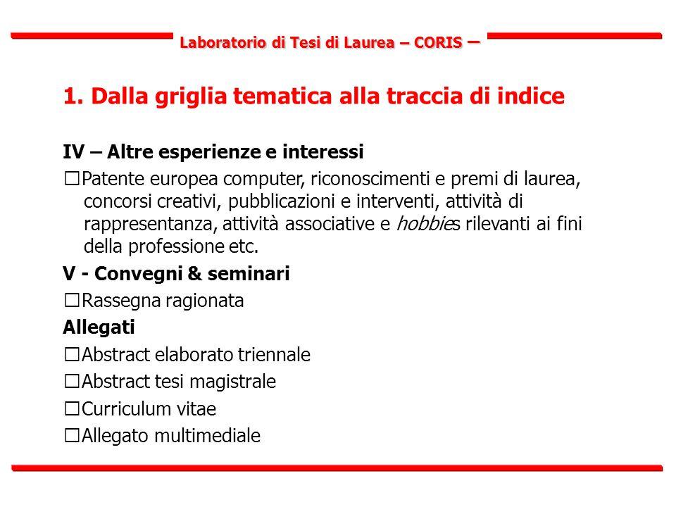 Laboratorio di Tesi di Laurea – CORIS – 1.