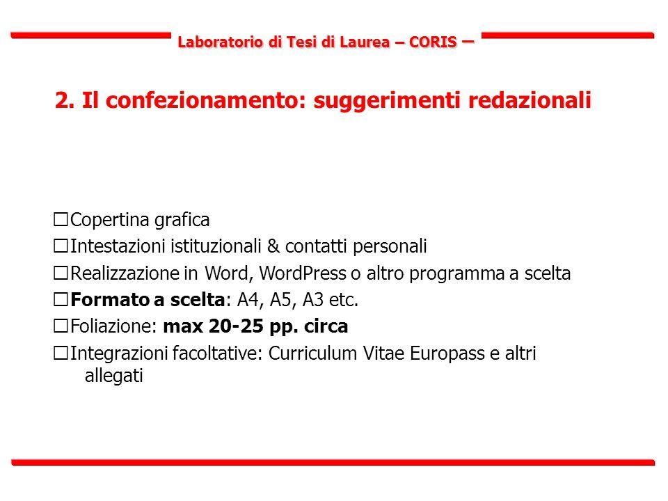 Laboratorio di Tesi di Laurea – CORIS – 2.