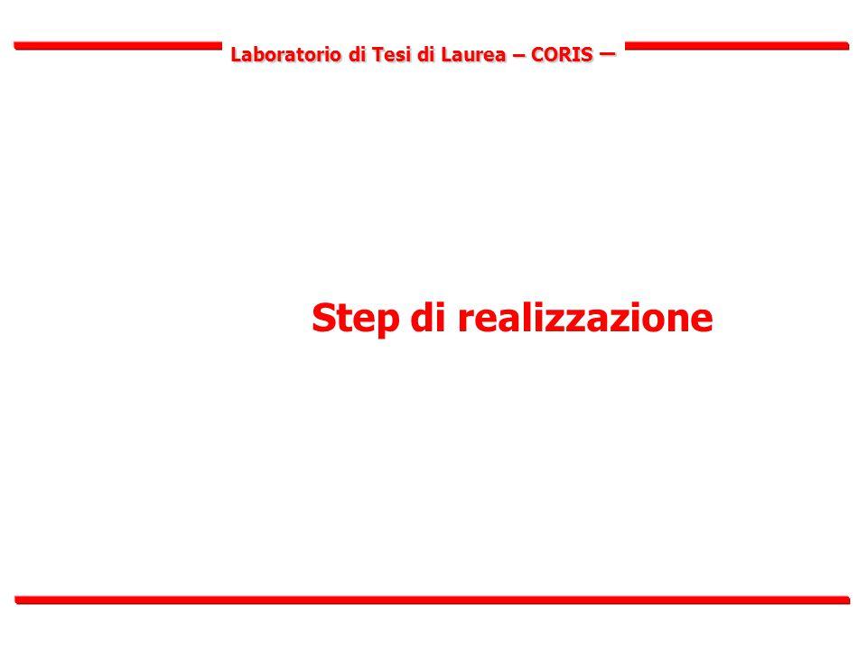 Laboratorio di Tesi di Laurea – CORIS – Fasi di realizzazione I.