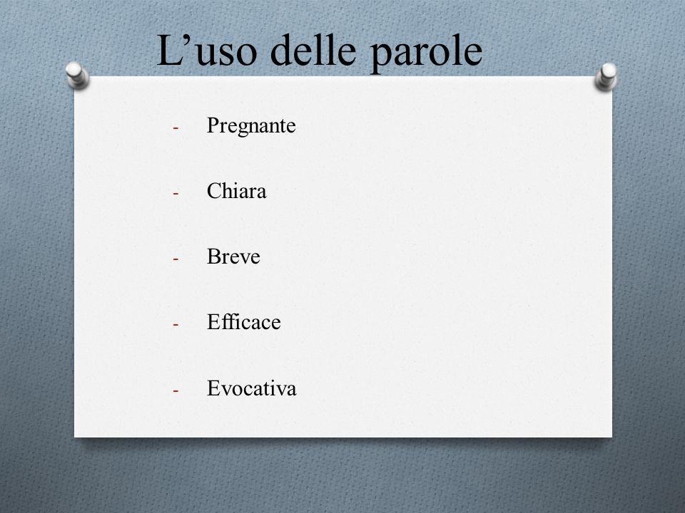 L'uso delle parole - Pregnante - Chiara - Breve - Efficace - Evocativa