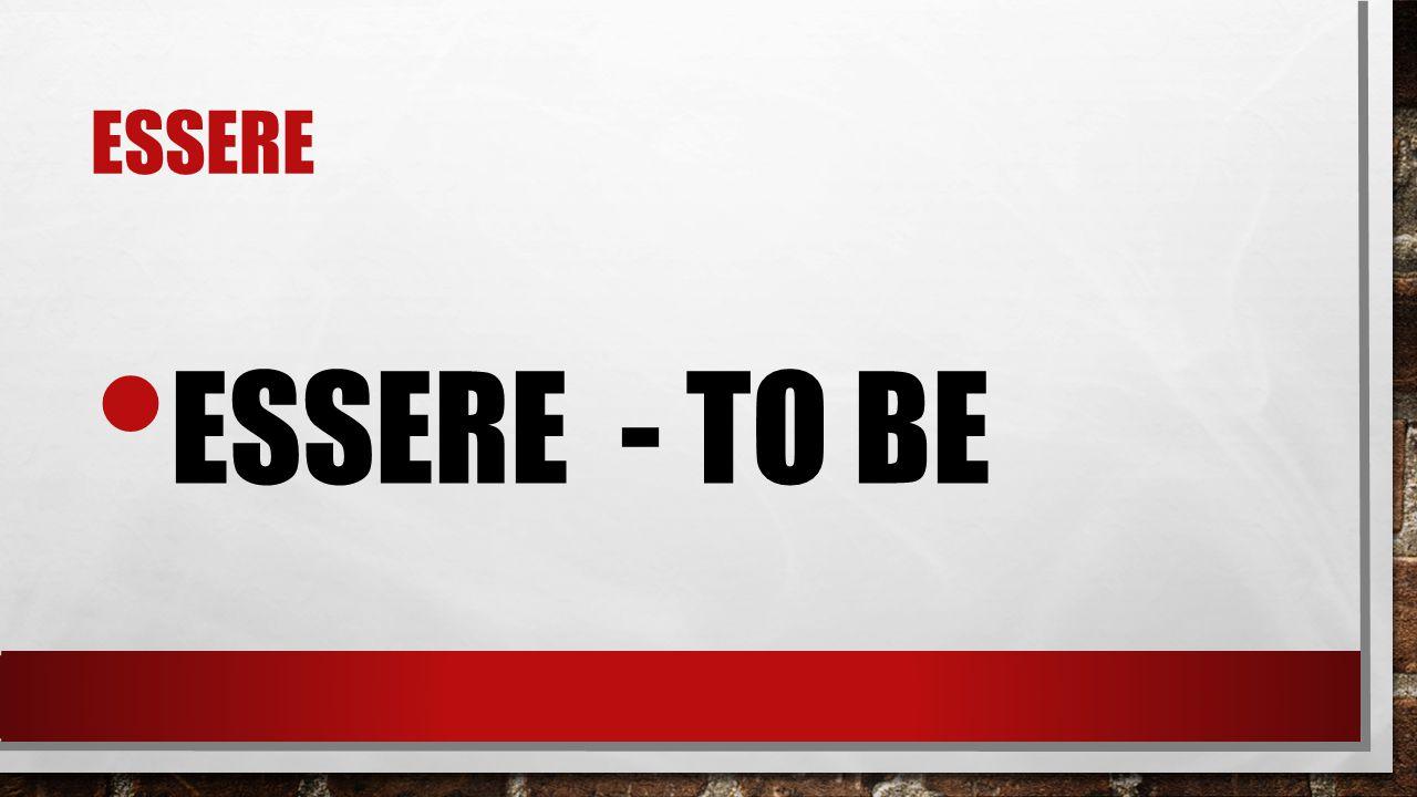 ESSERE ESSERE - TO BE
