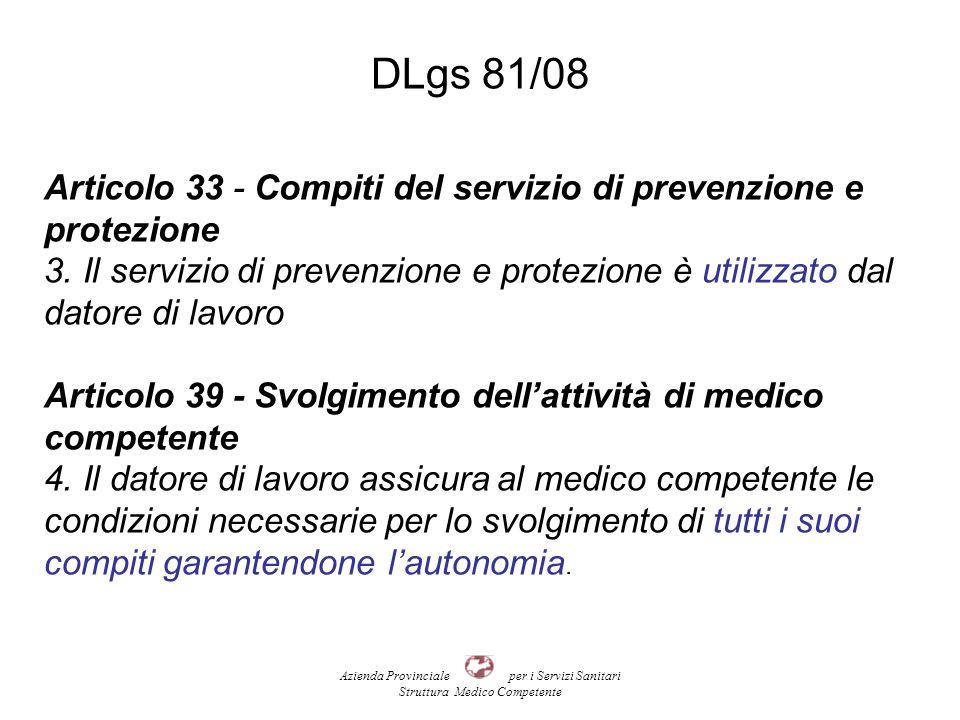 DLgs 81/08 Articolo 33 - Compiti del servizio di prevenzione e protezione 3.