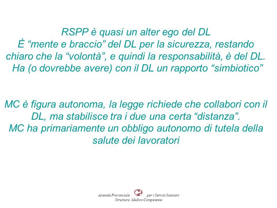 RSPP è quasi un alter ego del DL È mente e braccio del DL per la sicurezza, restando chiaro che la volontà , e quindi la responsabilità, è del DL.