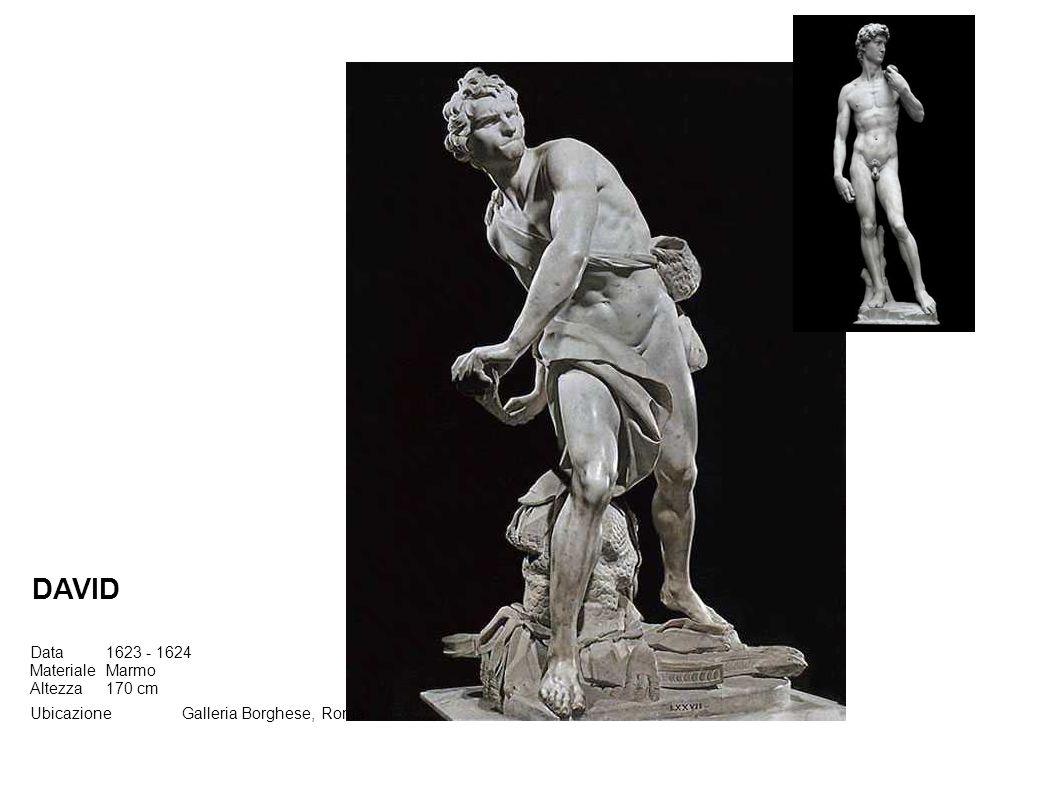 Data1623 - 1624 MaterialeMarmo Altezza170 cm UbicazioneGalleria Borghese, Roma DAVID