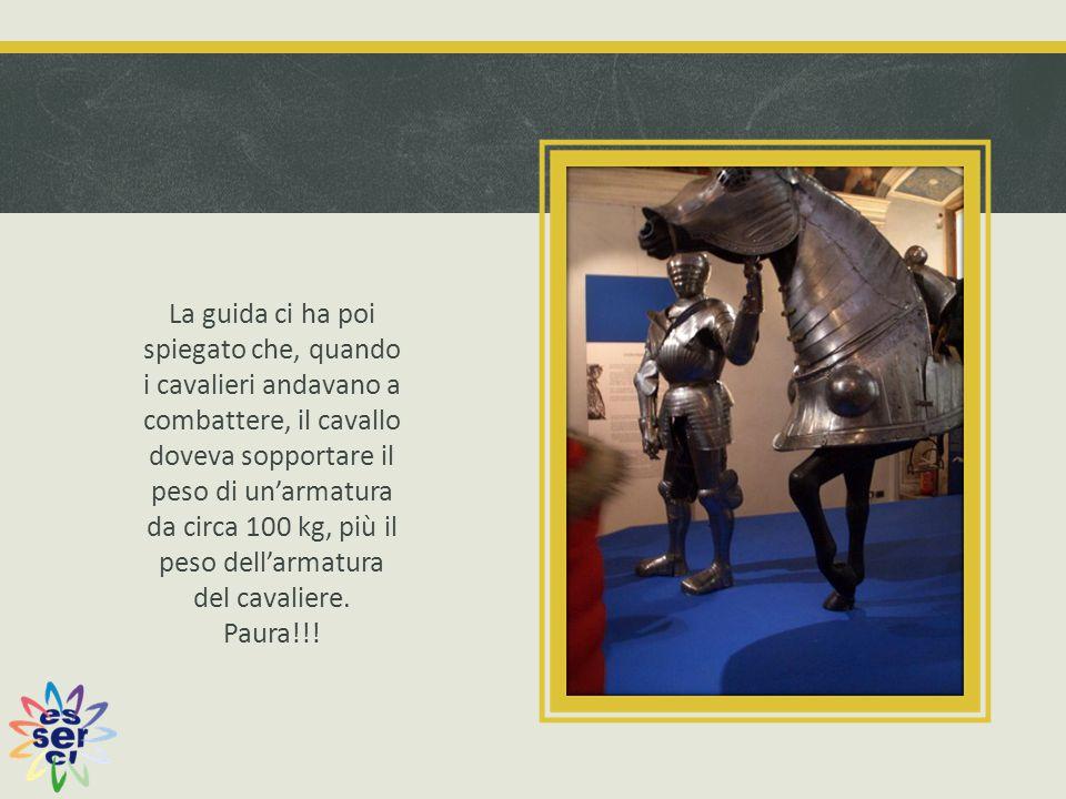 La guida ci ha poi spiegato che, quando i cavalieri andavano a combattere, il cavallo doveva sopportare il peso di un'armatura da circa 100 kg, più il peso dell'armatura del cavaliere.