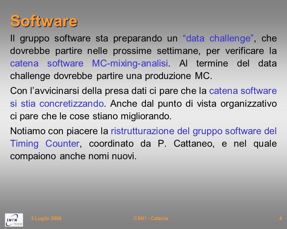 3 Luglio 2006CSN1 - Catania4Software Il gruppo software sta preparando un data challenge , che dovrebbe partire nelle prossime settimane, per verificare la catena software MC-mixing-analisi.