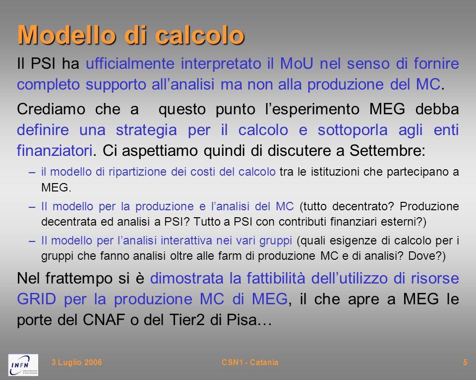 3 Luglio 2006CSN1 - Catania5 Modello di calcolo Il PSI ha ufficialmente interpretato il MoU nel senso di fornire completo supporto all'analisi ma non alla produzione del MC.
