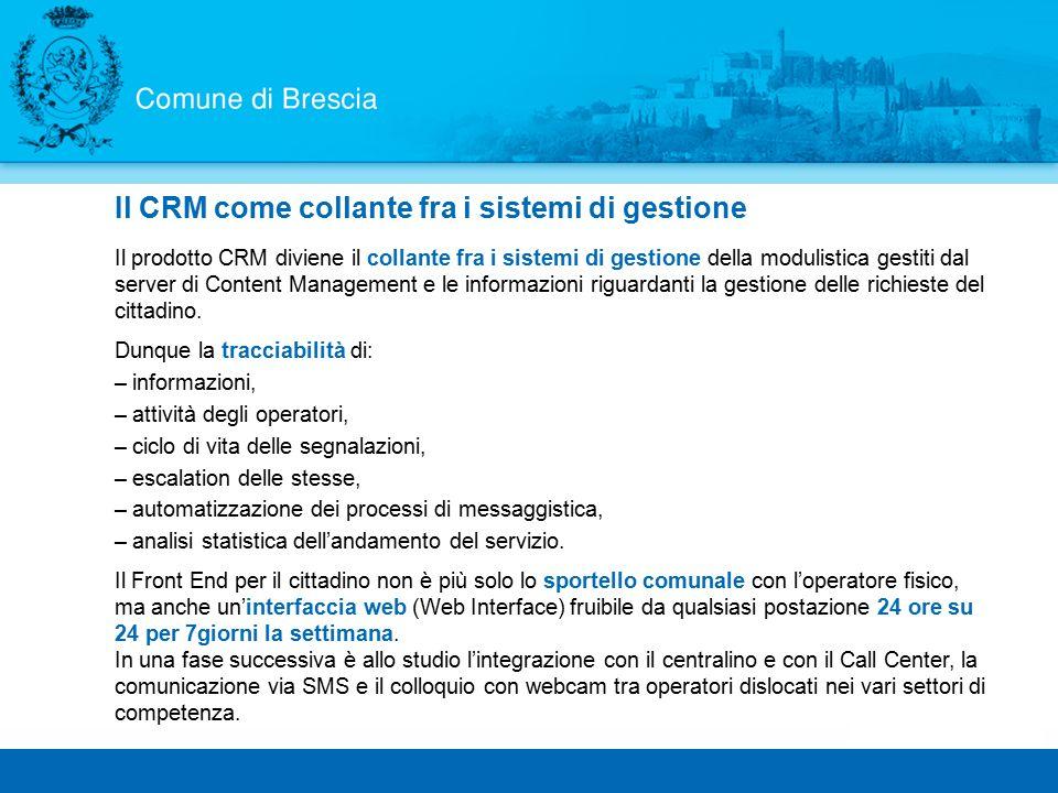 Il prodotto CRM diviene il collante fra i sistemi di gestione della modulistica gestiti dal server di Content Management e le informazioni riguardanti la gestione delle richieste del cittadino.