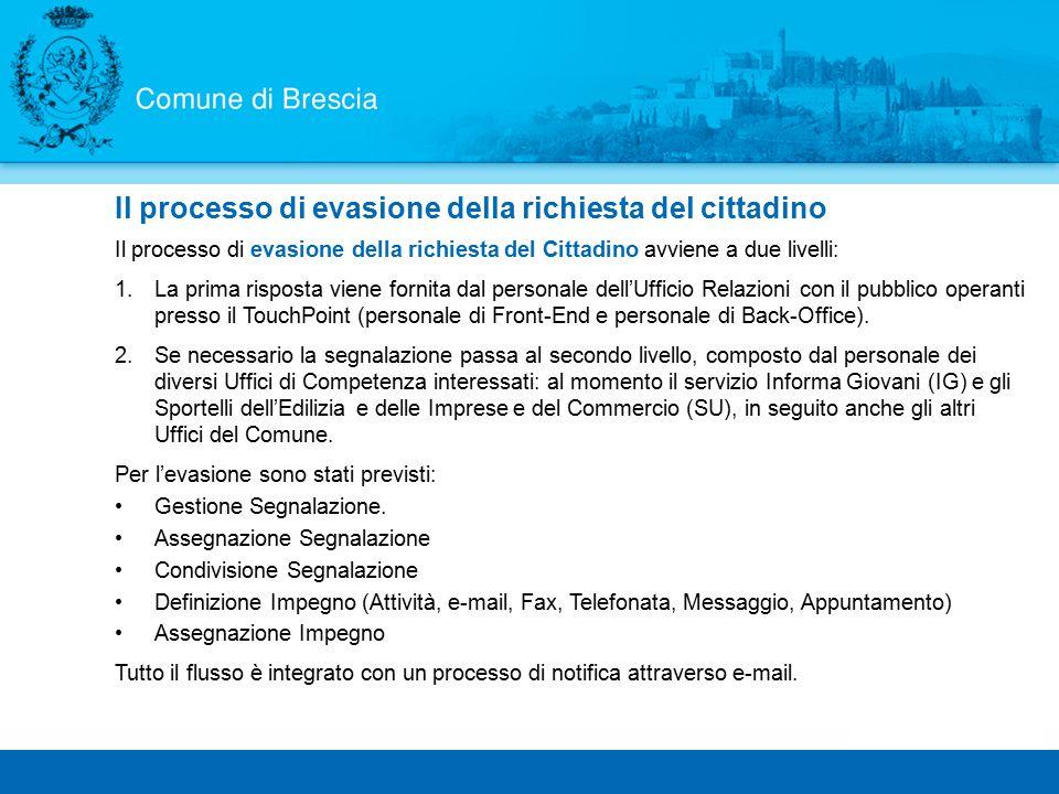 Il processo di evasione della richiesta del Cittadino avviene a due livelli: 1.La prima risposta viene fornita dal personale dell'Ufficio Relazioni con il pubblico operanti presso il TouchPoint (personale di Front-End e personale di Back-Office).