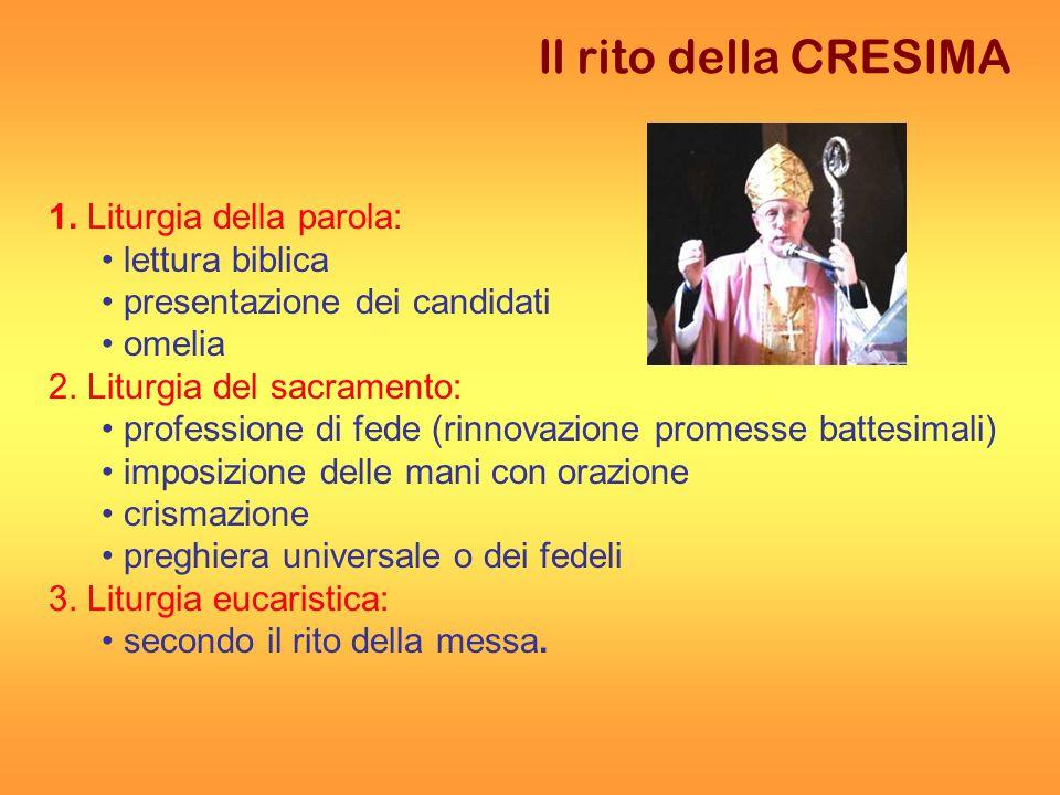 Il rito della CRESIMA 1.