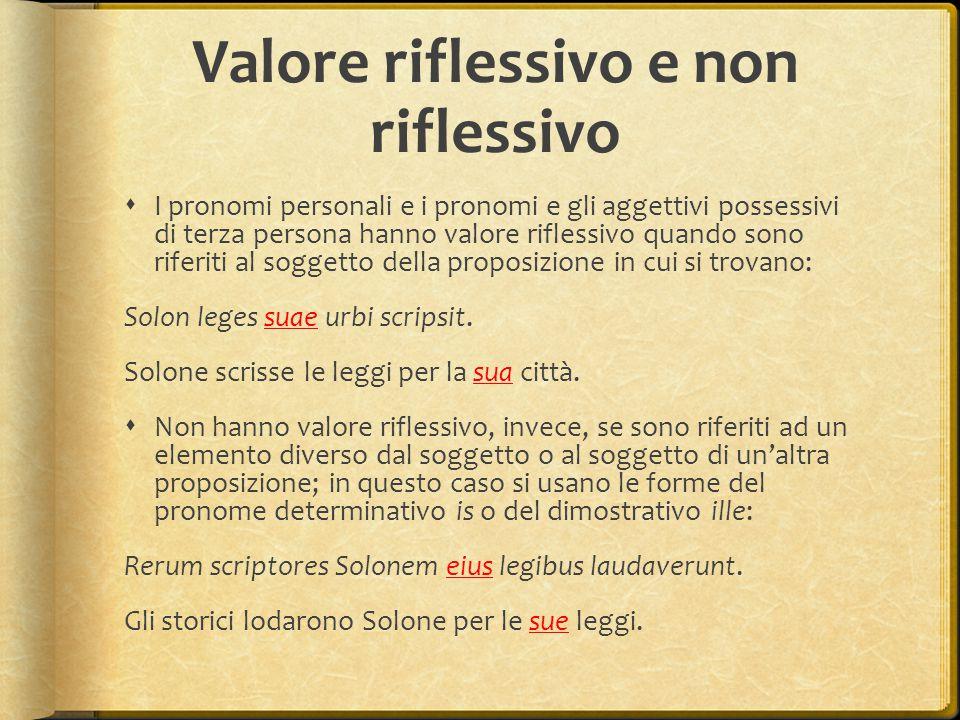 Valore riflessivo e non riflessivo  I pronomi personali e i pronomi e gli aggettivi possessivi di terza persona hanno valore riflessivo quando sono r