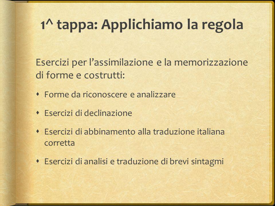 1^ tappa: Applichiamo la regola Esercizi per l'assimilazione e la memorizzazione di forme e costrutti:  Forme da riconoscere e analizzare  Esercizi