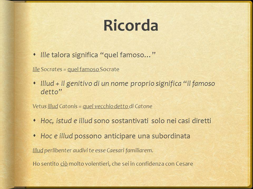 """Ricorda  Ille talora significa """"quel famoso…"""" Ille Socrates = quel famoso Socrate  Illud + il genitivo di un nome proprio significa """"il famoso detto"""
