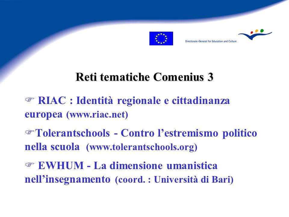 Reti tematiche Comenius 3 F RIAC : Identità regionale e cittadinanza europea (www.riac.net) FTolerantschools - Contro l'estremismo politico nella scuola (www.tolerantschools.org) F EWHUM - La dimensione umanistica nell'insegnamento (coord.