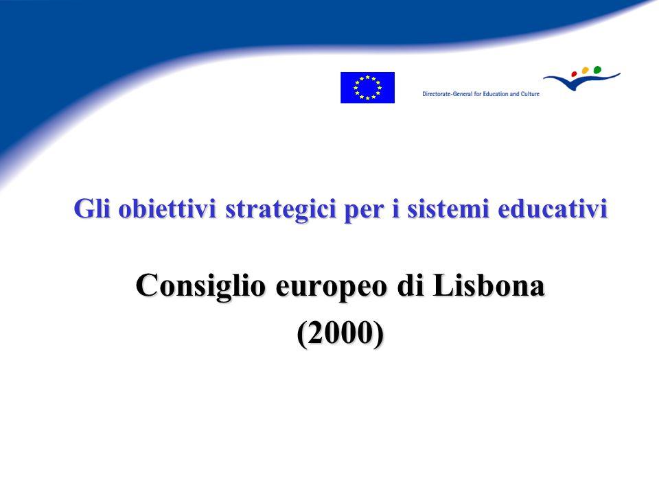 Gli obiettivi strategici per i sistemi educativi Consiglio europeo di Lisbona (2000)