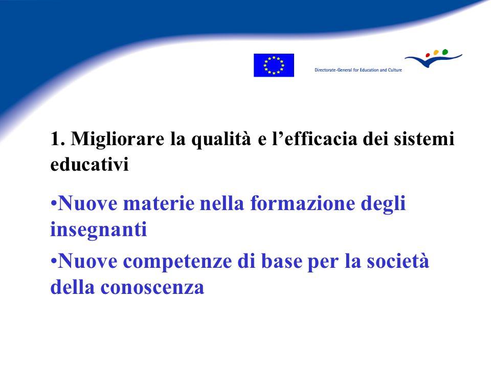 1. Migliorare la qualità e l'efficacia dei sistemi educativi Nuove materie nella formazione degli insegnanti Nuove competenze di base per la società d