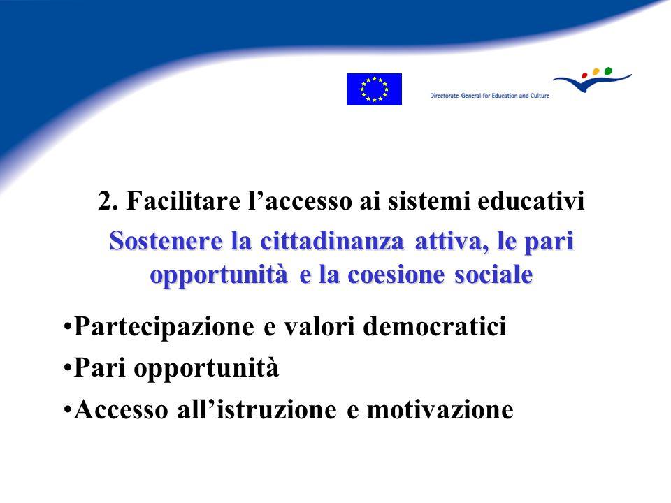 2. Facilitare l'accesso ai sistemi educativi Sostenere la cittadinanza attiva, le pari opportunità e la coesione sociale Partecipazione e valori democ