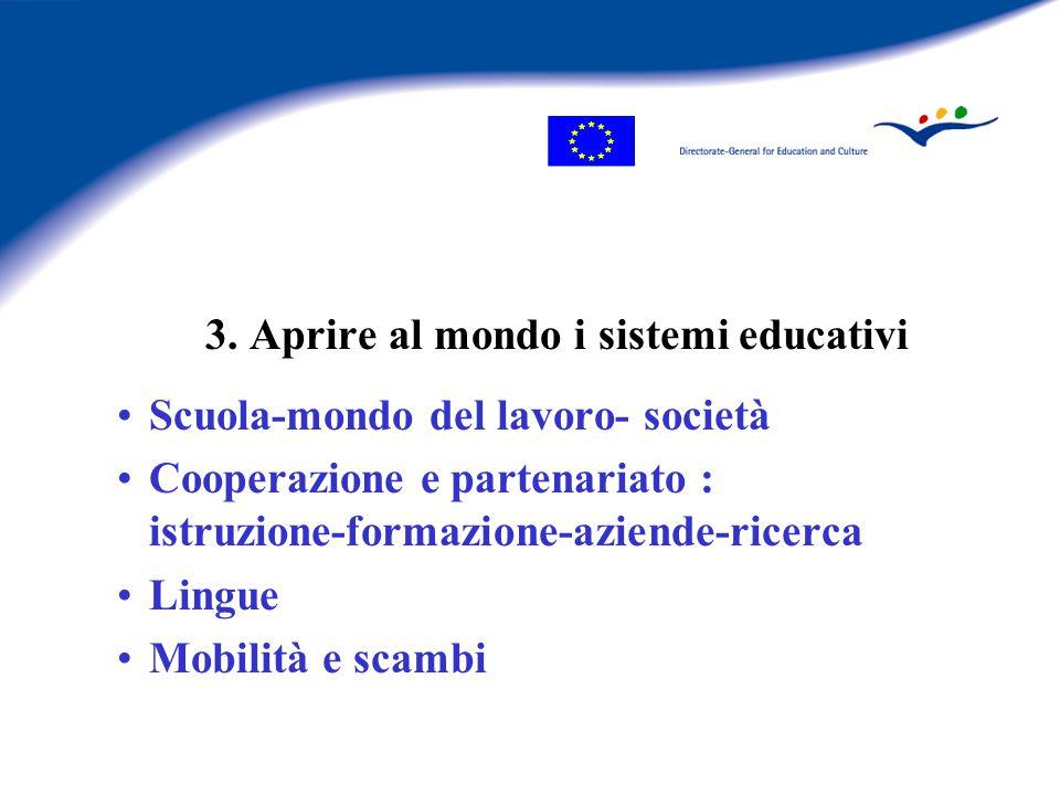 3. Aprire al mondo i sistemi educativi Scuola-mondo del lavoro- società Cooperazione e partenariato : istruzione-formazione-aziende-ricerca Lingue Mob
