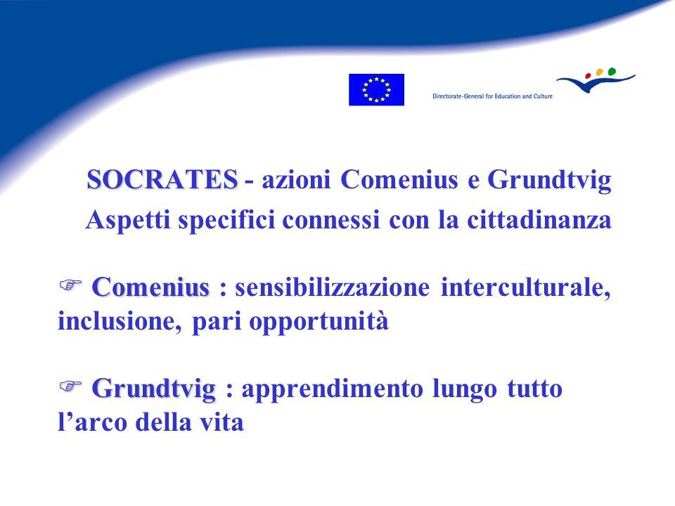 Azioni centralizzate Comenius Comenius 2.1 F Comenius 2.1 :  30 progetti sulla cittadinanza oltre 100 progetti sull'educazione interculturale e gli allievi con esigenze specifiche Comenius 3 F 3 reti tematiche Comenius 3